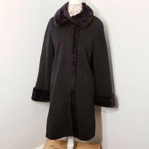 Damo Donna Black Wool Cashmere Faux Fur Collar Coa